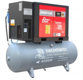 Sprężarka śrubowa Profi Kompressoren ARROW 11kW/500L zestaw na zbiorniku poziomym z osuszaczem chłodniczym 3 stopnie, filtrami 3