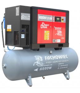 Sprężarka śrubowa Profi Kompressoren ARROW 5.5kW/500L zestaw na zbiorniku poziomym z osuszaczem chłodniczym 3 stopnie, filtrami