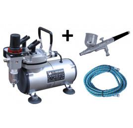 Kompresor MINI zestaw + aerograf-BD130 0.3 mm + wąż 3 mb