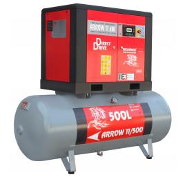 Sprężarka śrubowa Profi Kompressoren ARROW 11kW/500L zestaw na zbiorniku poziomym