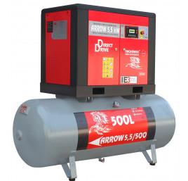 Sprężarka śrubowa Profi Kompressoren ARROW 5.5kW/500L zestaw na zbiorniku poziomym