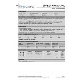 Bohler TIG drut spawalniczy pręt TIG 308L chromowo-niklowy 1.0x1000/opk. 5kg (cena za 1kg)