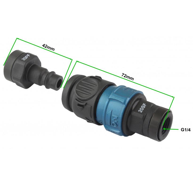 Wąż spiralny przewód PU - poliuretan 10x6,5mm  15m bezpieczne szybkozłącze