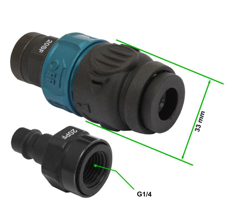 Wąż spiralny przewód PU - poliuretan 12x8mm  10m bezpieczne szybkozłącze